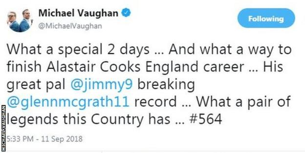 Former England captain Michael Vaughan paid tribute on Twitter