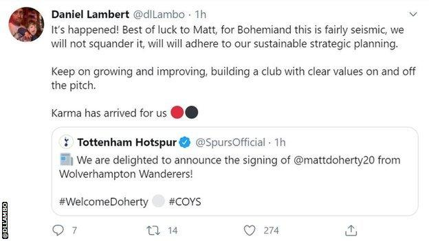 """Daniel Lambert's Twitter post saying Bohemians """"will not squander"""" the cash injection the club receives after Matt Doherty's transfer from Wolves to Tottenham"""