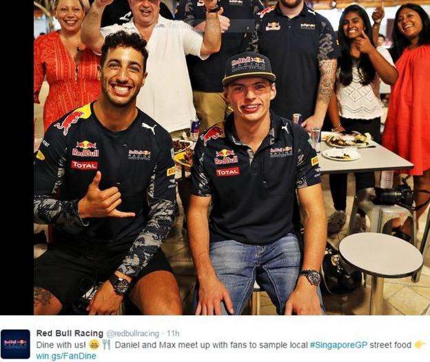 Red Bull's Daniel Ricciardo and Max Verstappen s