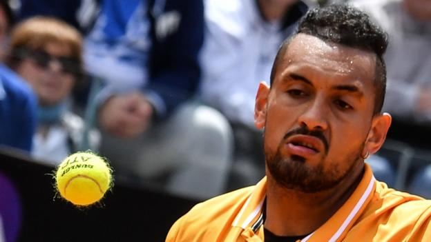 Italian Open: Nick Kyrgios serves underarm during win over Daniil Medvedev thumbnail