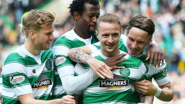 Celtic celebrate the opening goal by Leigh Griffiths (second right)