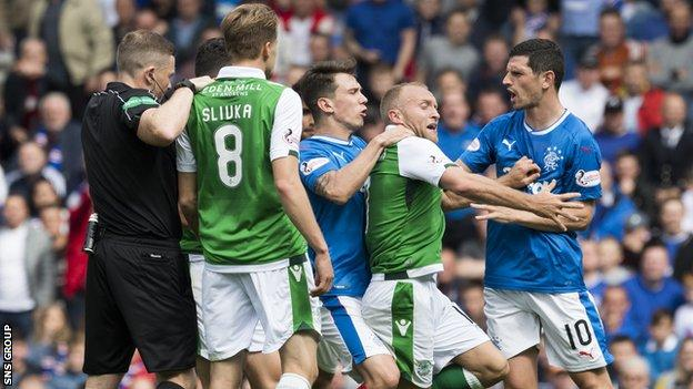 Ryan Jack was sent off after tussling with Dylan McGeouch