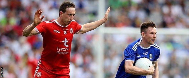 Colm Cavanagh and Karl O'Connell in action in this year's All-Ireland semi-final