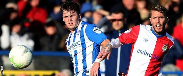 Ben Doherty of Coleraine in action against Linfield's Kirk Millar