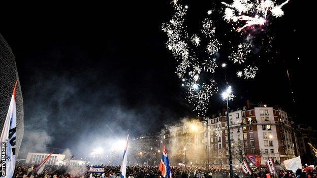 Fireworks outside Parc des Princes