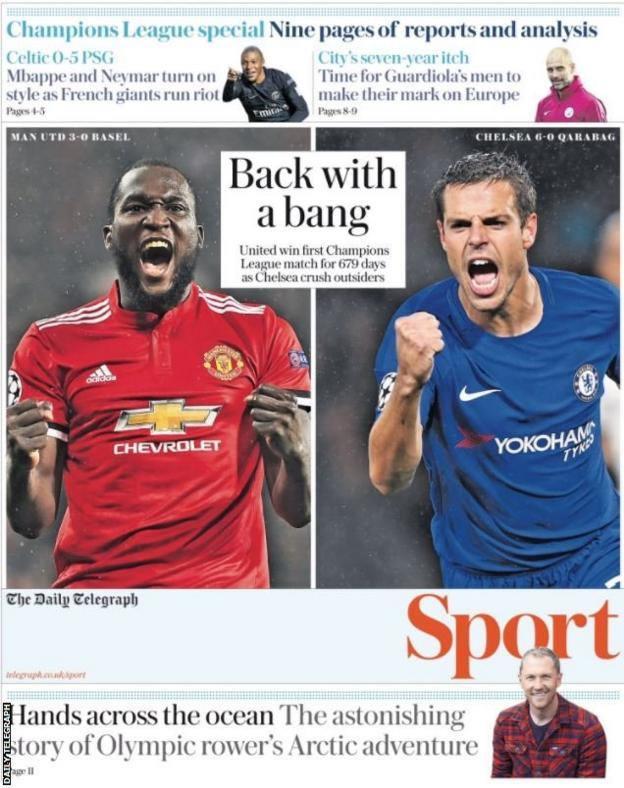And the Champions League leads the Daily Telegraph sports pages too