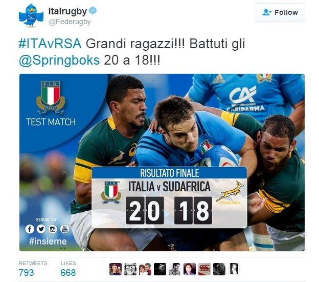Italy rugby tweet celebrating win over South Africa