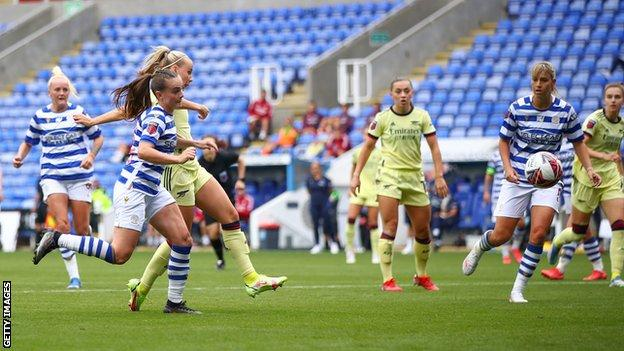 Arsenal's Beth Mead scores their second goal against Reading