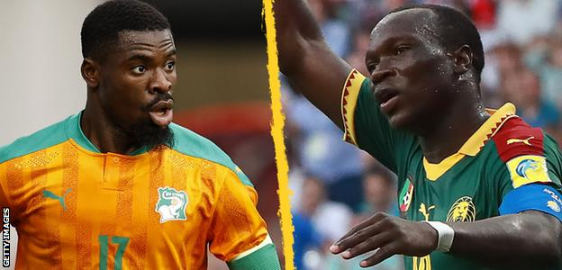 Ivory Coast captain Serge Aurier and Cameroon skipper Vincent Aboubakar