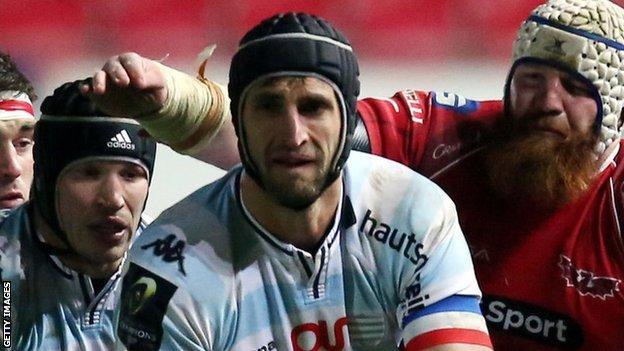 Luke Charteris comes under pressure from Jake Ball