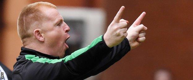 Hibernian head coach Neil Lennon celebrates against Rangers at Ibrox
