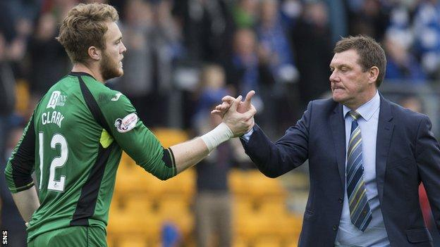Zander Clark is congratulated by St Johnstone manager Tommy Wright