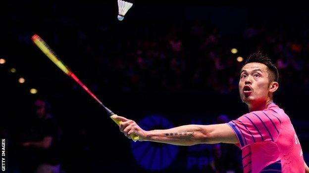 China's Lin Dan in action in the final of the All England Championships.