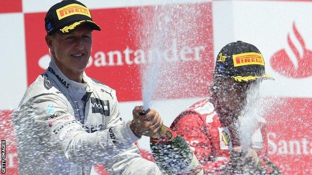 Michael Schumacher takes his final podium at the European Grand Prix in 2012
