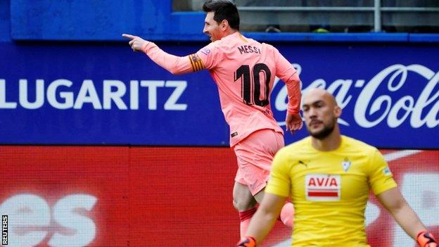 Messi scores twice as champions Barcelona draw at Eibar