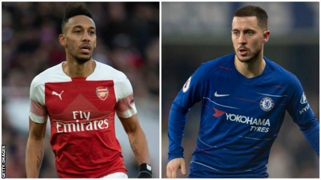 Arsenal's Pierre Emerick-Aubameyang and Chelsea's Eden Hazard