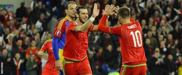 Gareth Bale celebrates Wales second goal