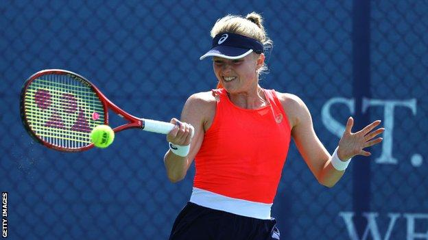British tennis player Harriet Dart hits a forehand shot