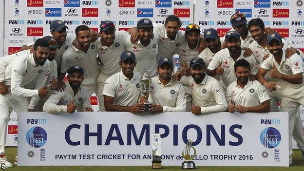 India with the Test series trophy