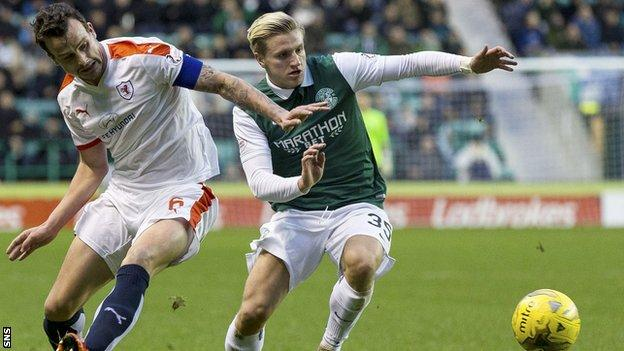 Jason Cummings playing for Hibernian against Raith Rovers
