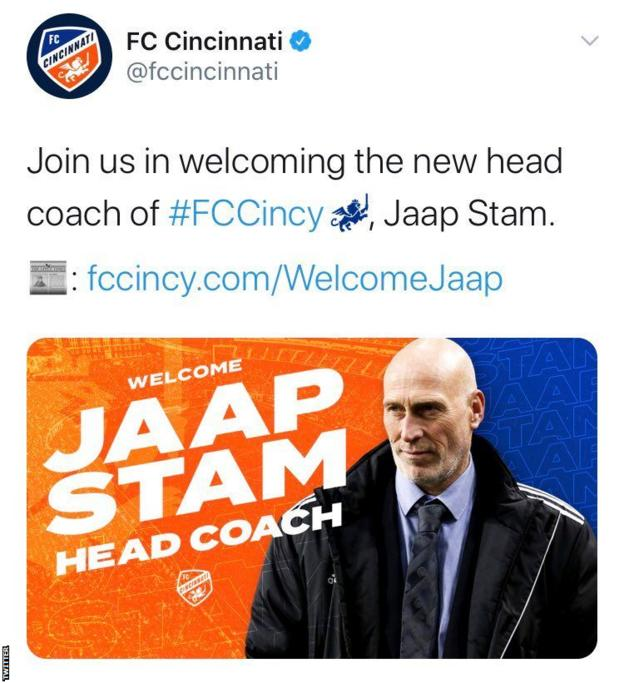 FC Cincinnati tweet showing a photo of Tinus van Teunenbroek instead of Jaap Stam