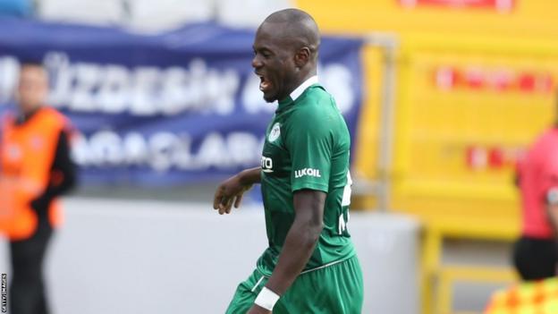 Uganda's Farouk Miya in action for Turkish club Konyaspor
