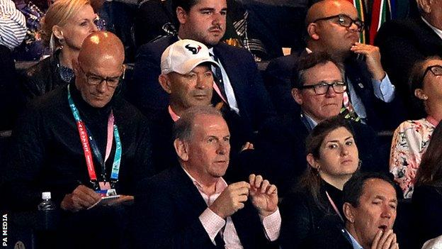 Eddie Jones and England defence coach John Mitchell watched the South Africa - Wales semi-final from the stands in Yokohama