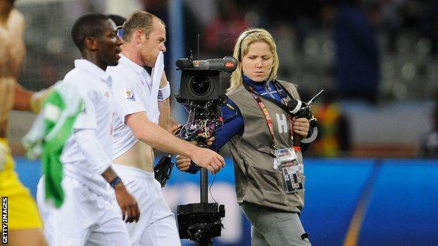 Wayne Rooney speaks into camera after match in 2010 World Cup