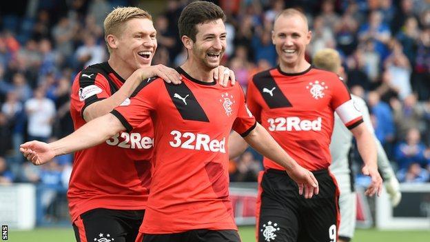 Rangers' Jason Holt celebrates
