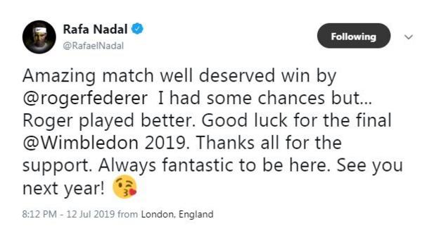Rafael Nadal's tweet after he lost to Roger Federer at Wimbledon