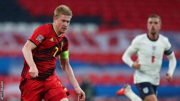 Kevin de Bruyne in action while playing for Belgium against England
