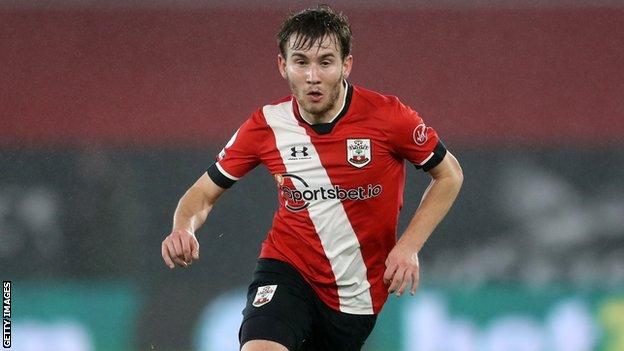 Jake Vokins in action for Southampton