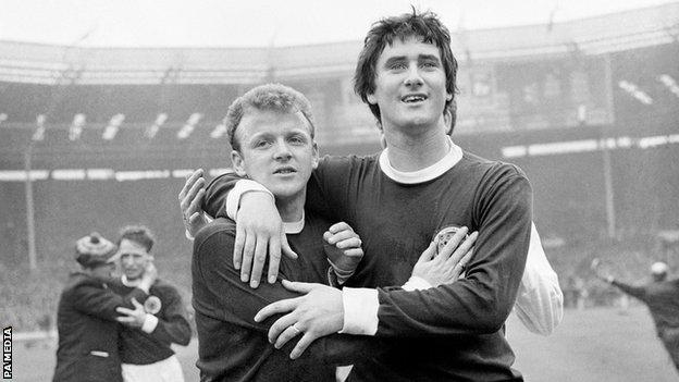 Scotland's Billy Bremner and Jim Baxter celebrate at Wembley