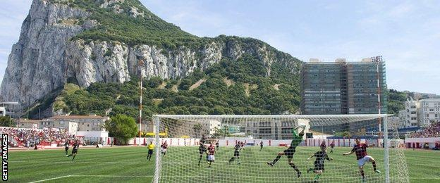 Lincoln Red Imps FC and College Europa FC's players take part in the Gibraltar Cup final in 2014