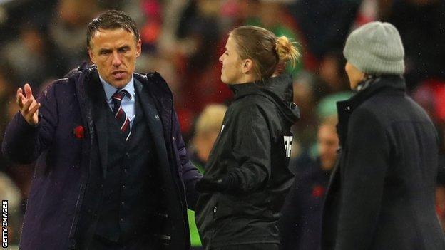 England women's manager Phil Neville