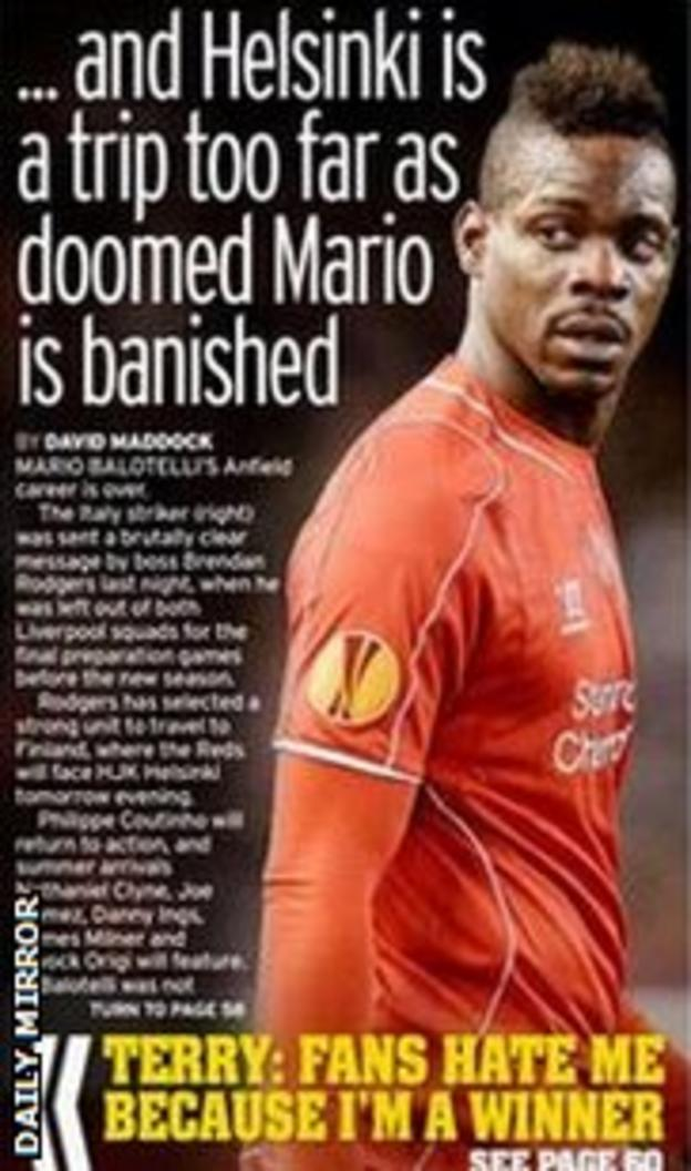 The Daily Mirror lead on Mario Balotelli's Anfield woe