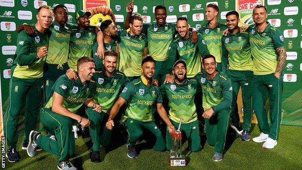 South Africa with the ODI series trophy