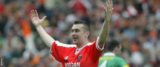 Oisin McConville celebrates immediately after the final whistle in the 2002 All-Ireland final