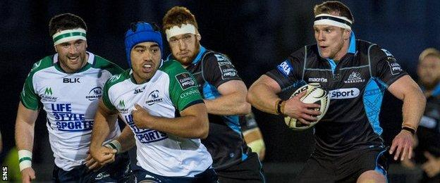 Glasgow flanker Chris Fusaro (right) runs at the Connacht defence when the sides met at Scotstoun in September