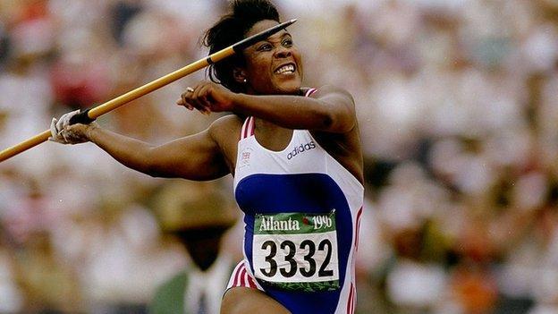 Tessa Sanderson throwing a javelin in Atlanta, Georgia, 1996