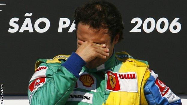 Felipe Massa could not hold back the tears on the podium after winning his home grand prix in Brazil in 2006