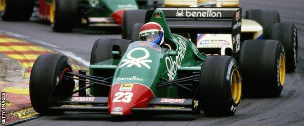 Eddie Cheever drives the #23 Benetton Team Alfa Romeo 184TB Turbo followed by Thierry Boutsen and Alfa Romeo team mate Riccardo Patrese during the Shell Oils Grand Prix of Europe on 6 October 1985