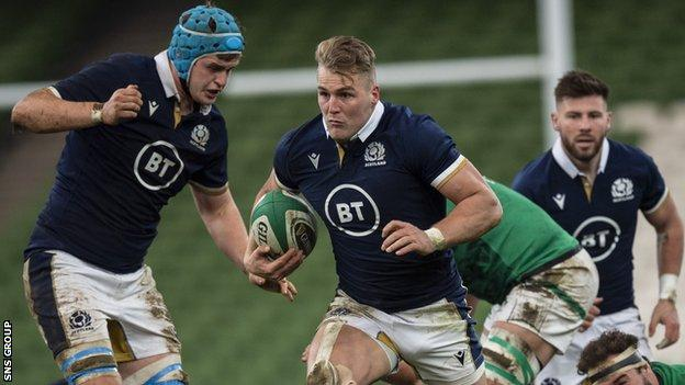 Duhan van der Merwe carries forward in Scotland's Autumn Nations Cup defeat by Ireland in Dublin on 5 December