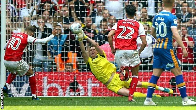 Dean Henderson saved a penalty at Wembley but was still on the losing side in the League One play-off final