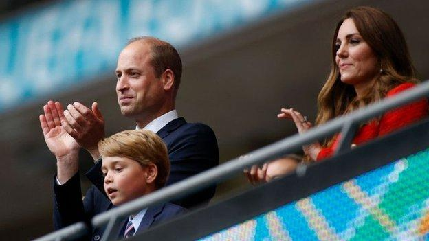 The Duke and Duchess of Cambridge and Prince George at Wembley