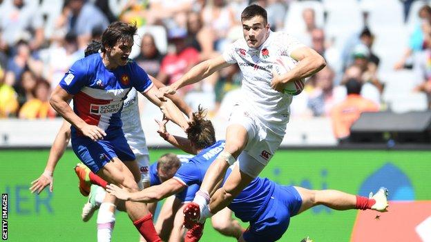 Will Muir in action for England Sevens