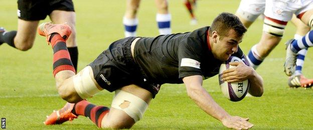 Stuart McInally crashes over to score Edinburgh's first try against the Dragons in the European Challenge Cup semi-final