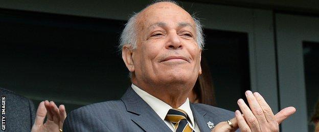 Hull City owner Assem Allam applauds and smiles following a Premier League game against Burnley in May 2015