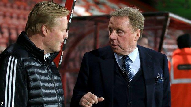 Harry Redknapp chats to Ronald Koeman