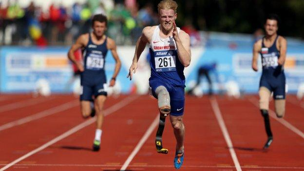 Jonnie Peacock holds the Paralympic title